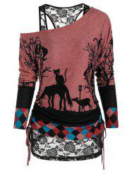 Halloween Cat Print Cinched Crew Neck T-shirt and Lace Tank Top -