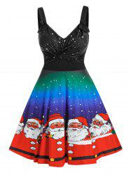 Plus Size Christmas Ombre Claus Twisted Ruched A Line Dress -