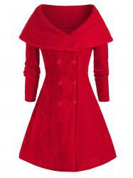 Plus Size Christmas Teddy Collar Velvet A Line Coat -