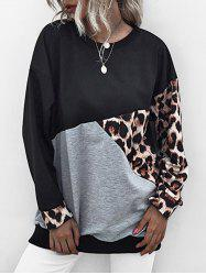 Leopard Insert Colorblock Drop Shoulder Sweatshirt -