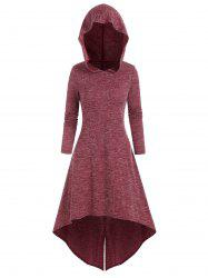 Hooded High Low Midi Knitted Dress -