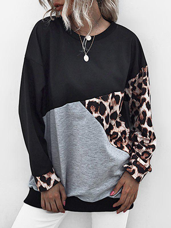 Hot Leopard Insert Colorblock Drop Shoulder Sweatshirt