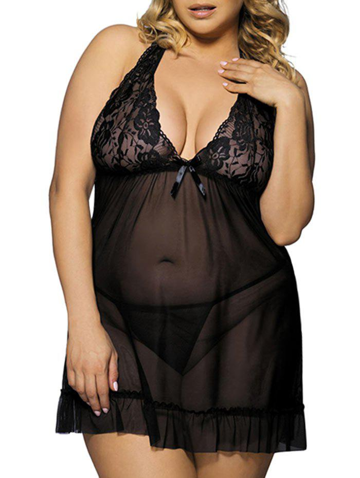 Shops Plus Size Lace Mesh Sexy Sheer Lingerie Babydoll with T-string