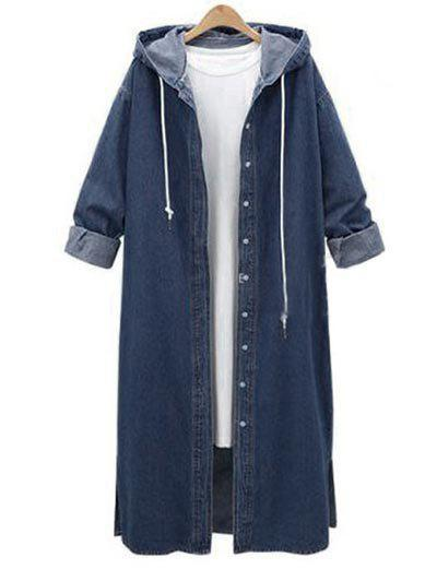 New Plus Size Hooded Denim Long Jacket