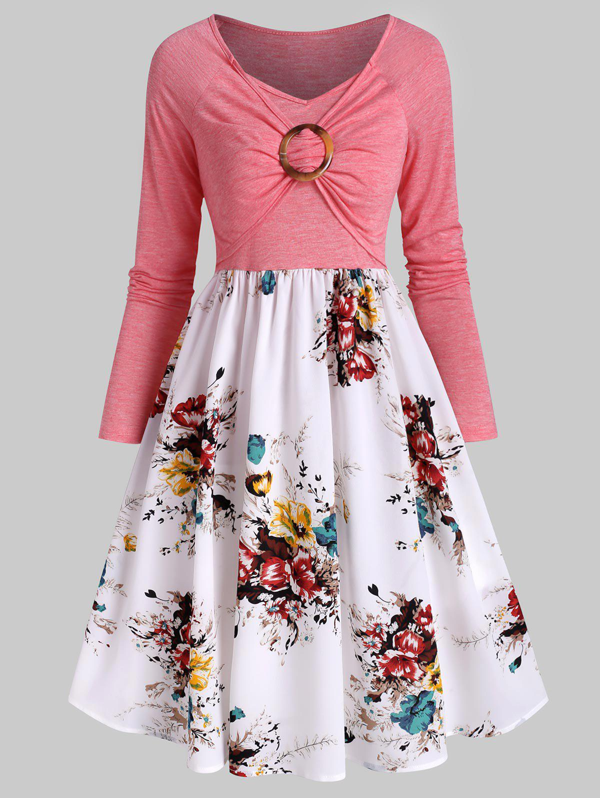 Best Ruched O Ring Floral Print Dress