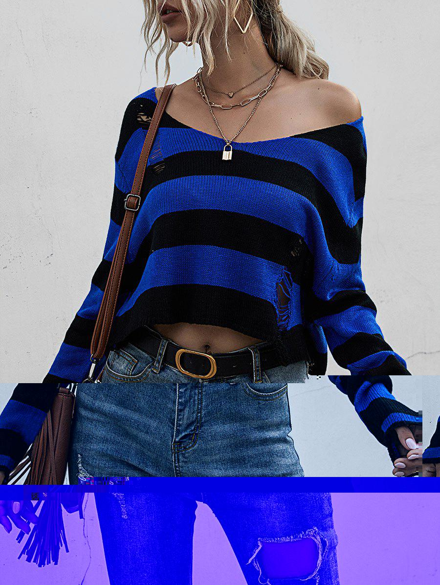 Affordable Striped Ripped Drop Shoulder Sweater