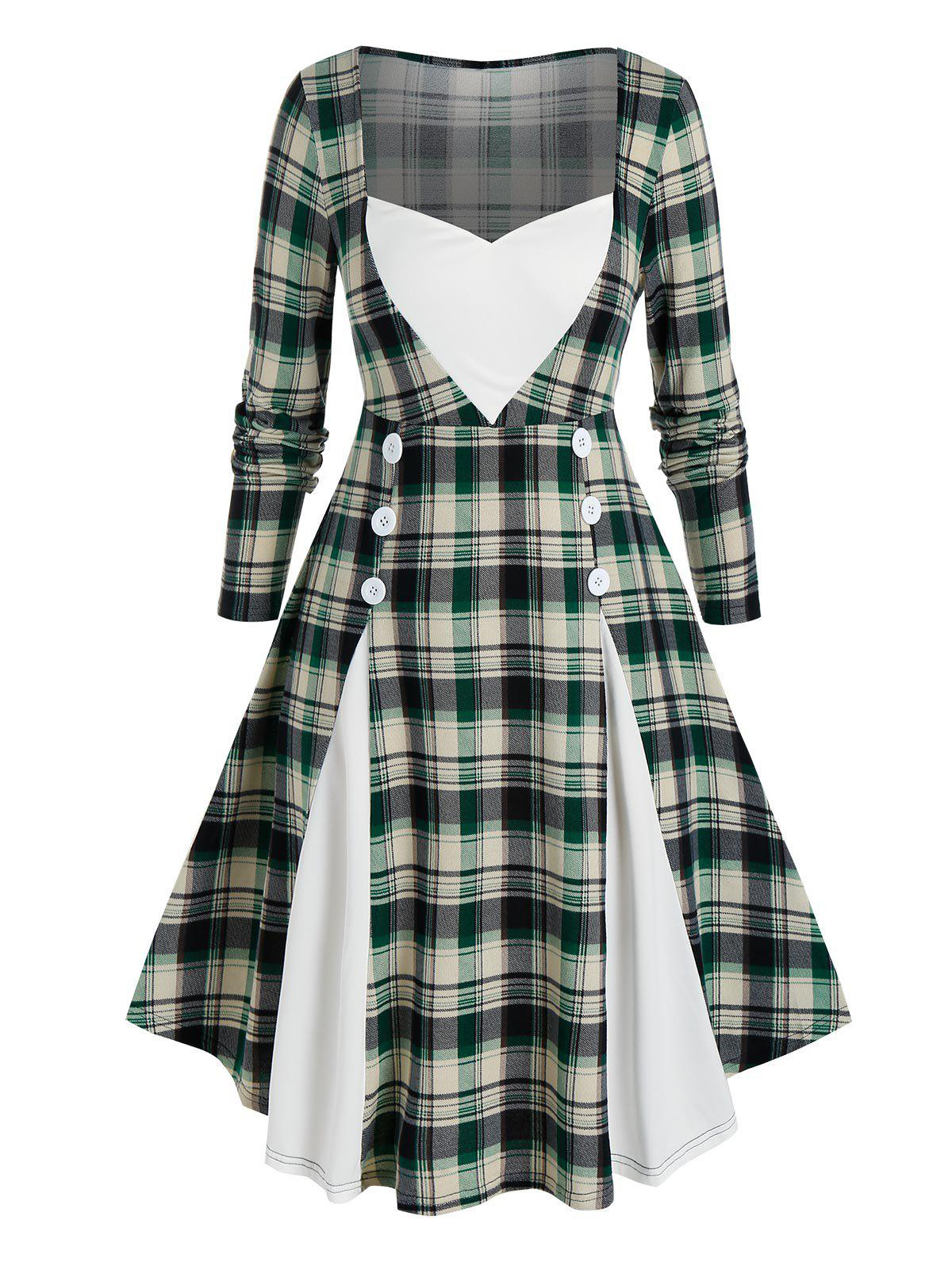 Trendy Plus Size Sweetheart Neck Plaid Knee Length Dress