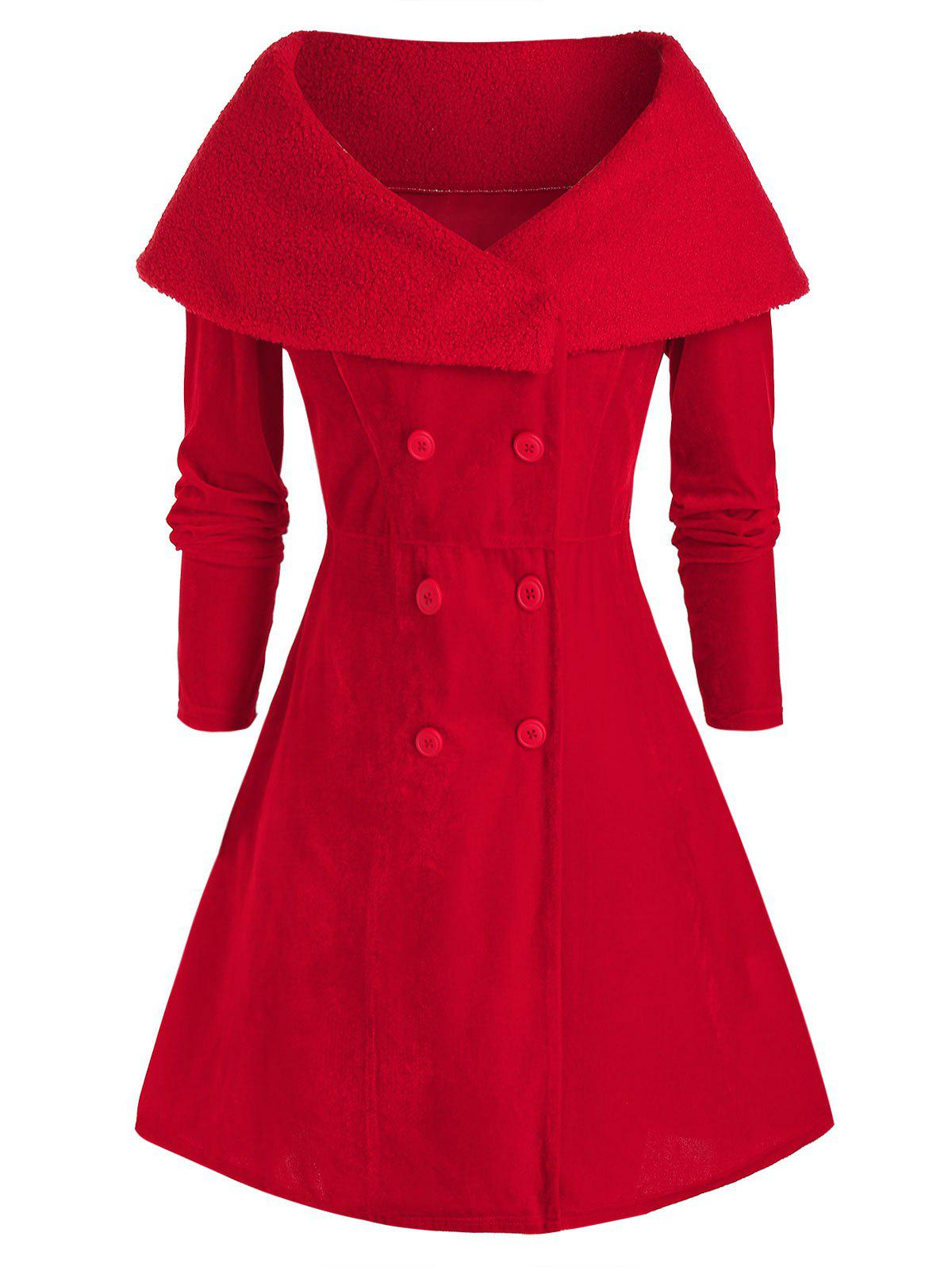 Hot Plus Size Christmas Teddy Collar Velvet A Line Coat