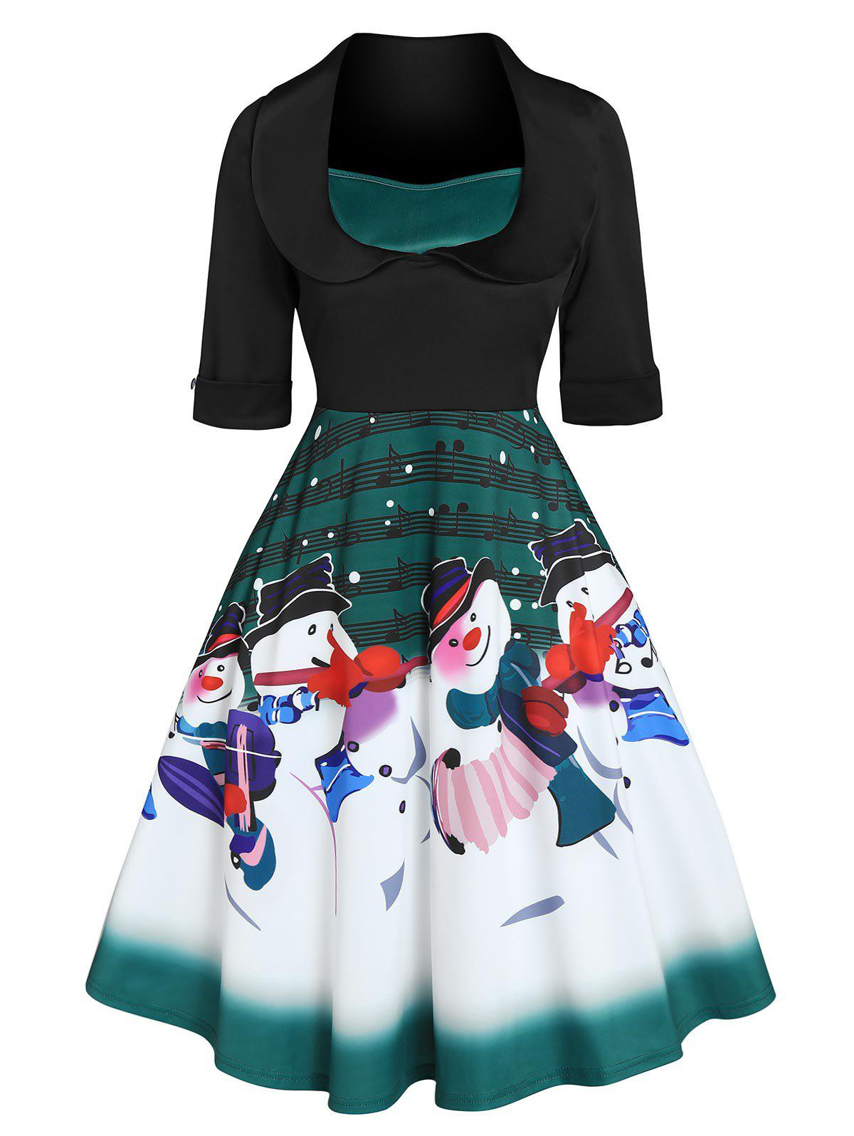 Christmas Snowman Musical Notes Print Flare Dress