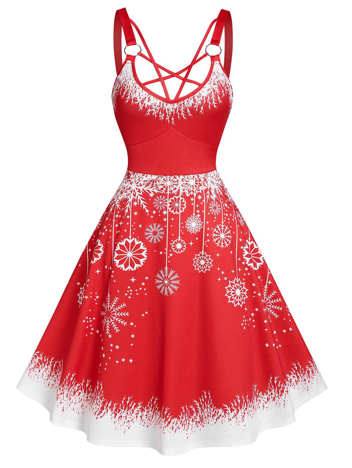 Hot Strappy Christmas Snowflake Print Dress