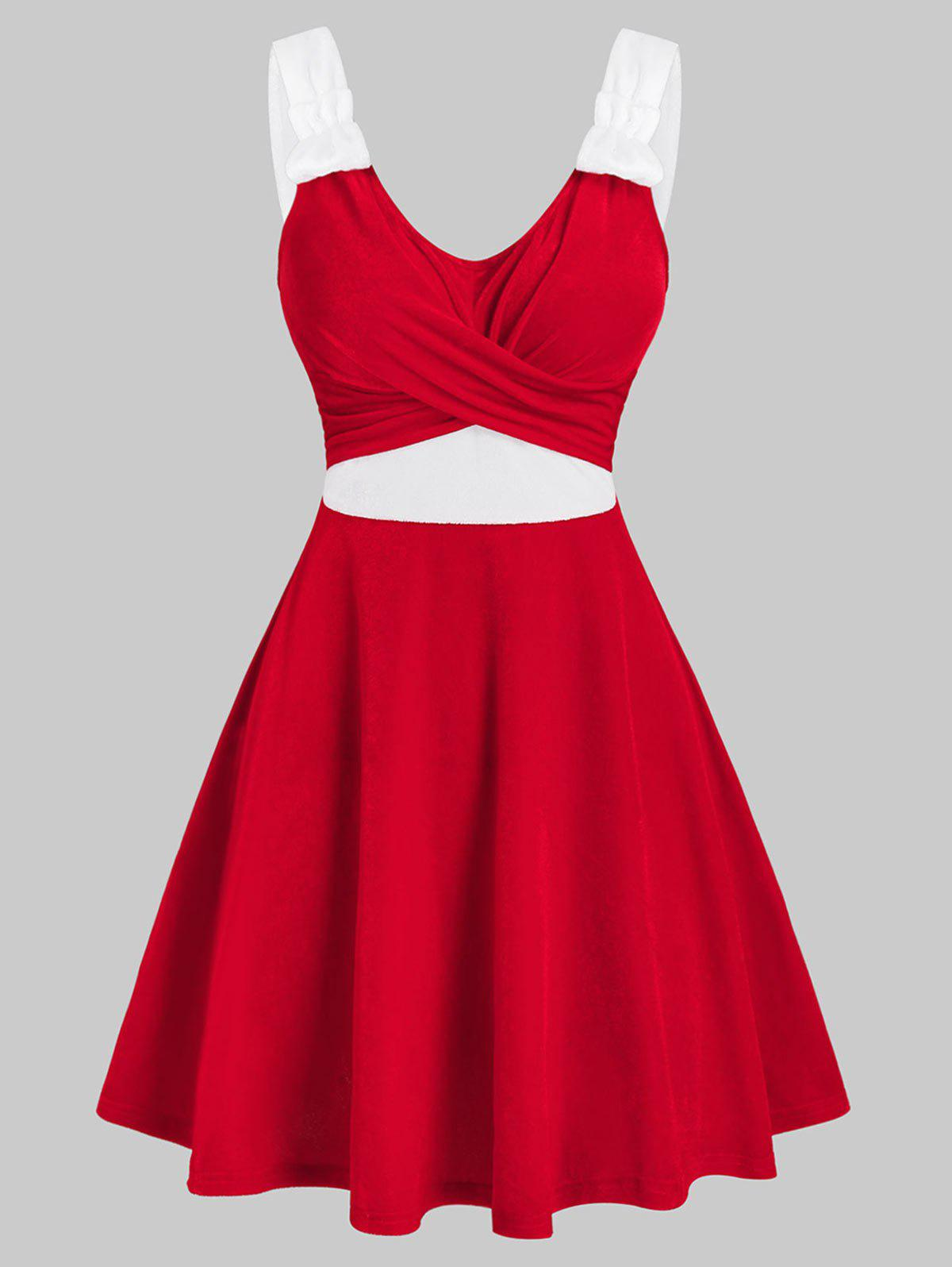 Latest Christmas Contrast Velour Crossover Dress