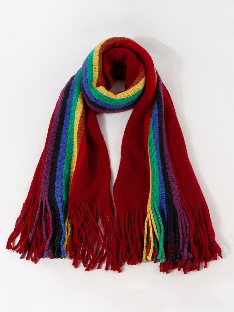 Outfit Stripe Rainbow Color Fringe Knitted Scarf