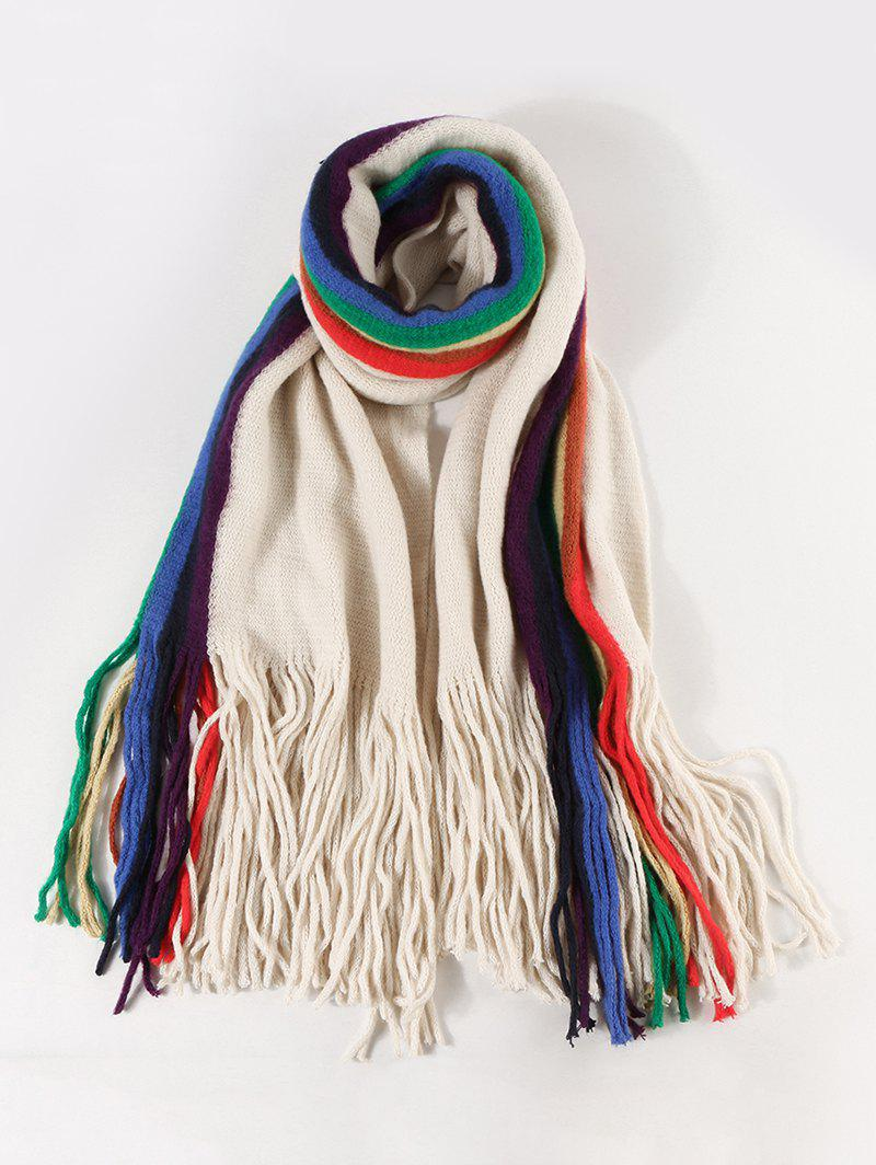 Online Stripe Rainbow Color Fringe Knitted Scarf