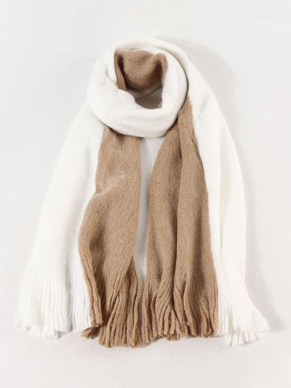 Hot Faux Cashmere Colorblock Fringe Scarf