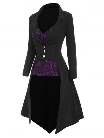 Halloween Lapel High Low Trench Coat with Skull Lace Camisole - PURPLE - 2XL