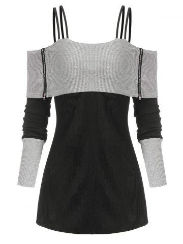 Two Tone Open Shoulder Zipper Ribbed Sweater