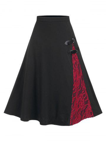 Lace Panel Buckled A Line Midi Skirt - BLACK - S