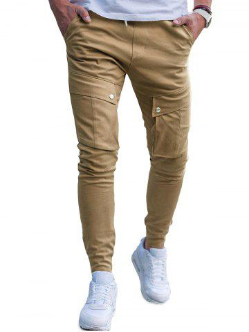 Drawstring Waist Pocket Beem Feet Jogger Pants