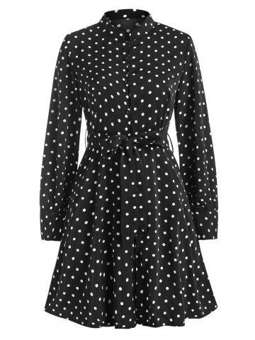 Polka Dot Button Loop Belted Long Sleeve Dress