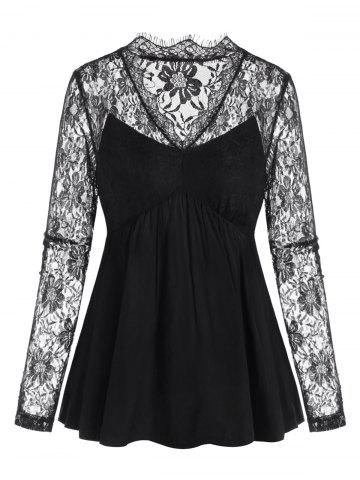 V-neck Lace Panel Long Sleeve Blouse - BLACK - XL