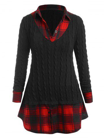 Plus Size Plaid 2 in 1 Knitwear - BLACK - L