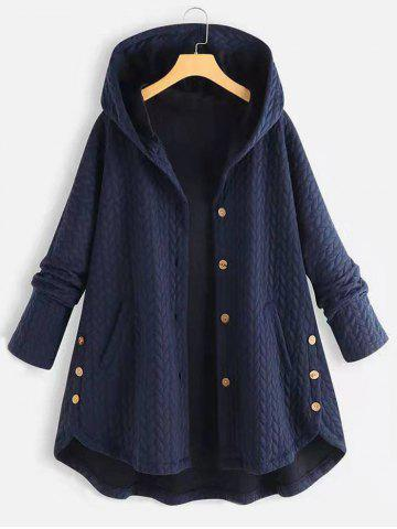 Plus Size High Low Hooded Coat - DEEP BLUE - 2XL