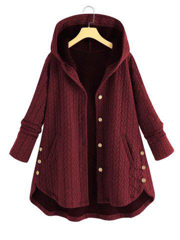 Plus Size High Low Hooded Coat - DEEP RED - 2XL