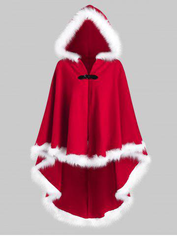 Christmas Plus Size Faux Fur Insert High Low Cloak Coat - RED - 4X