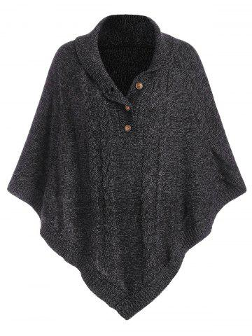 Shawl Collar Cable Knit Heathered Asymmetrical Poncho Sweater - BLACK - ONE SIZE