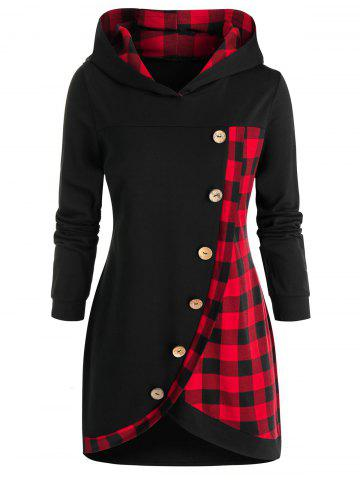 Plus Size Tulip Hem Plaid Hoodie - BLACK - 4X