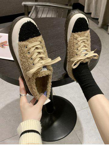 Colorblock Teddy Faux Fur Flat Shoes - KHAKI - EU 40