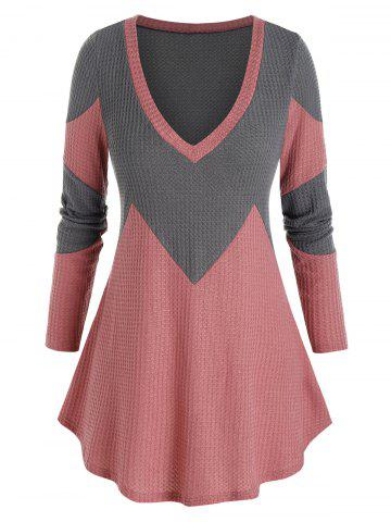 Plus Size Bicolor Two Tone Plunging Tunic Sweater - MULTI-A - 5X