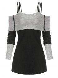 Two Tone Open Shoulder Zipper Ribbed Sweater -