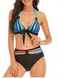 Bowknot Colorful Striped Halter Full Coverage Bikini Swimwear -