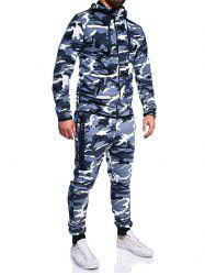 Camouflage Print Jacket And Pants Set -