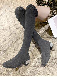 Over The Knee Length Stretch Rhinestone Boots -