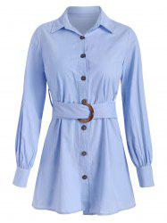 Button Up Shirt with O-ring Belt -