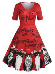 Plus Size Christmas Cat Print Flare Dress -