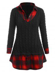 Plus Size Plaid 2 in 1 Knitwear -