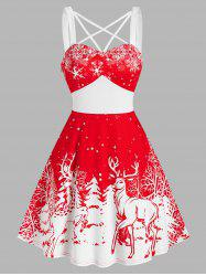 Christmas Tree Elk Snowflake Print Strappy Sleeveless Dress -
