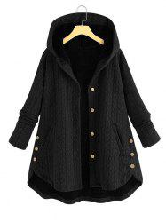Plus Size High Low Hooded Coat -