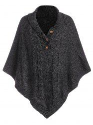 Shawl Collar Cable Knit Heathered Asymmetrical Poncho Sweater -