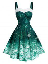 Ombre Color Snowflake Print Christmas Dress -