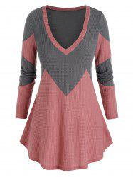 Plus Size Bicolor Two Tone Plunging Tunic Sweater -