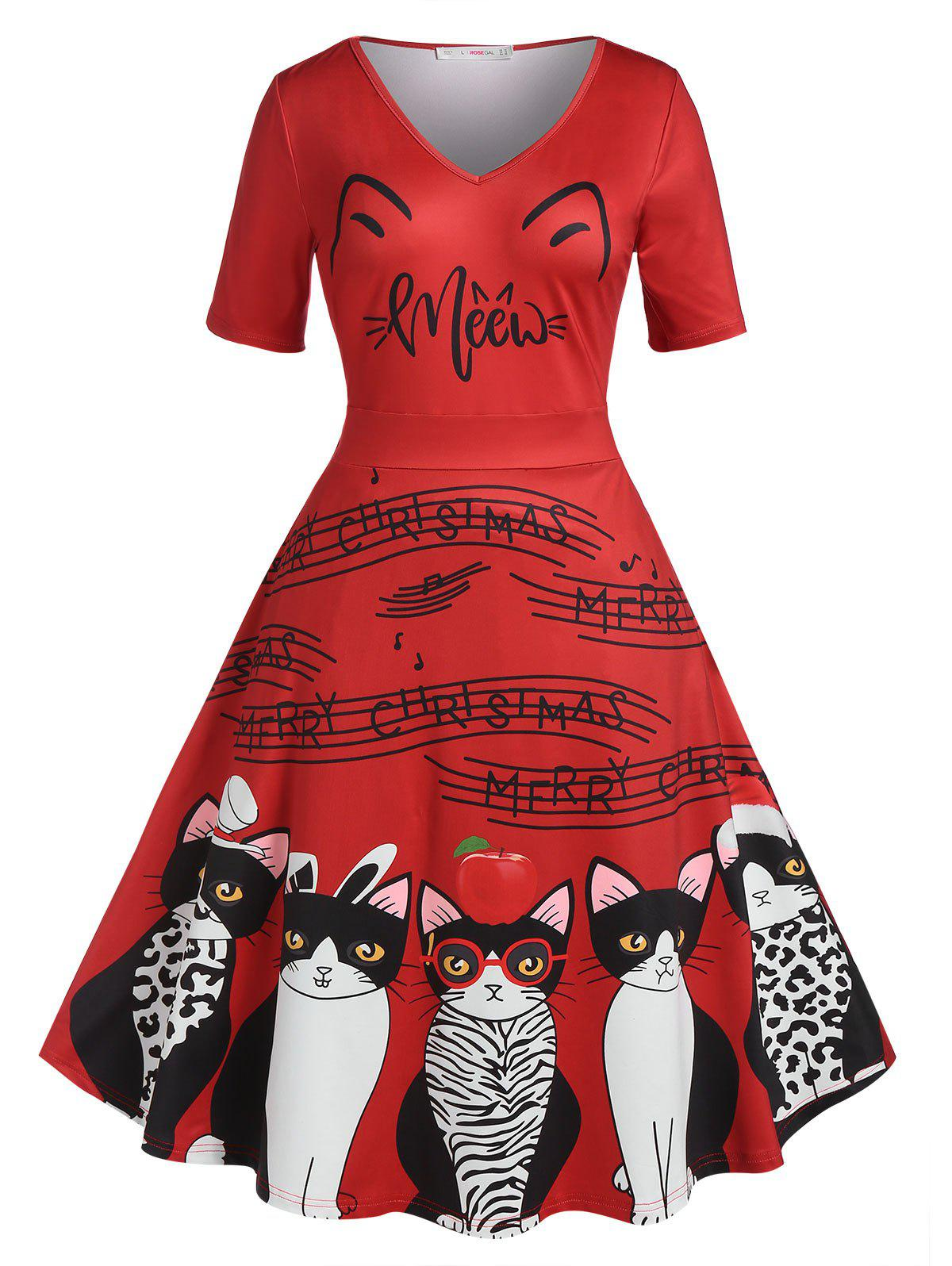 Shop Plus Size Christmas Cat Print Flare Dress