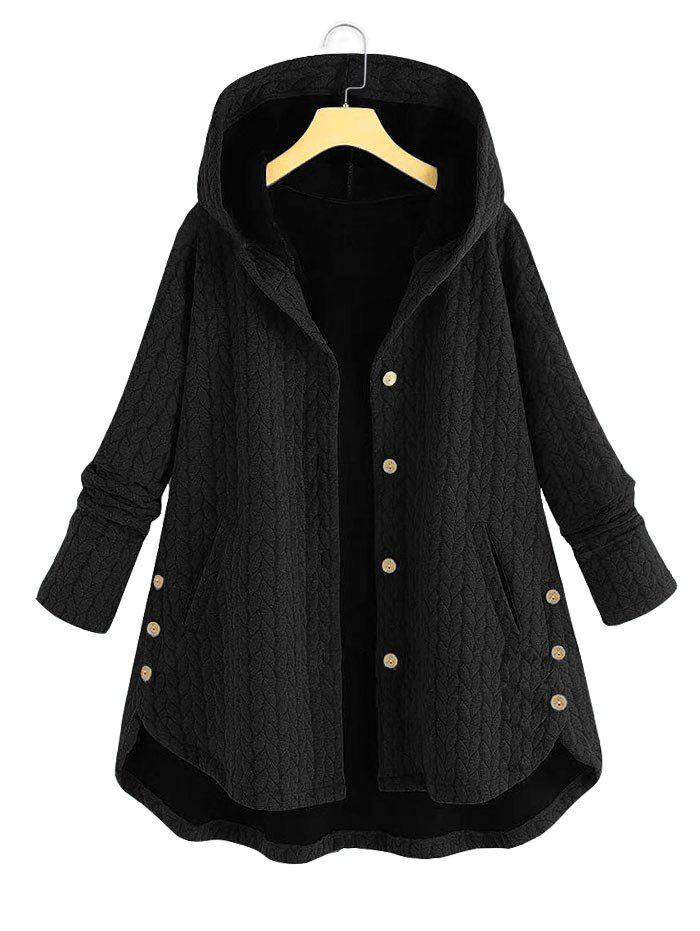 Cheap Plus Size High Low Hooded Coat