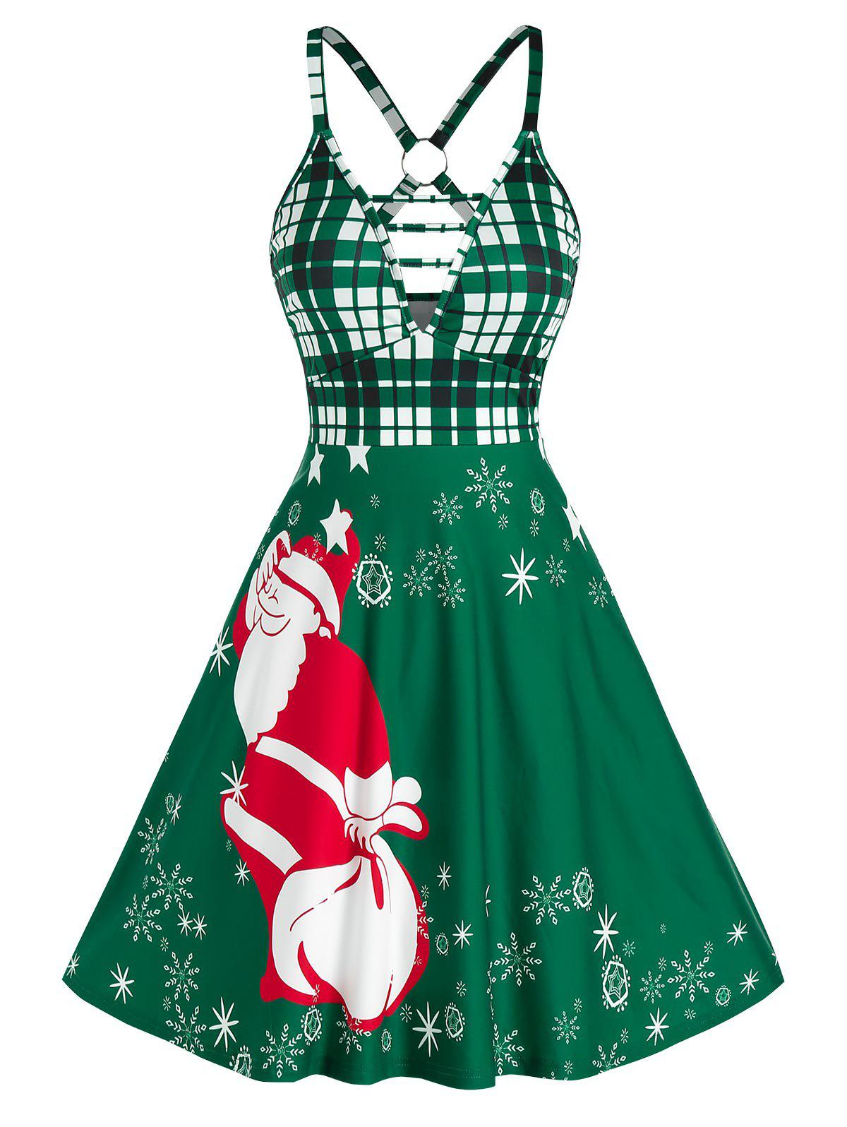 Best Christmas Santa Claus Print O Ring Plunge Dress