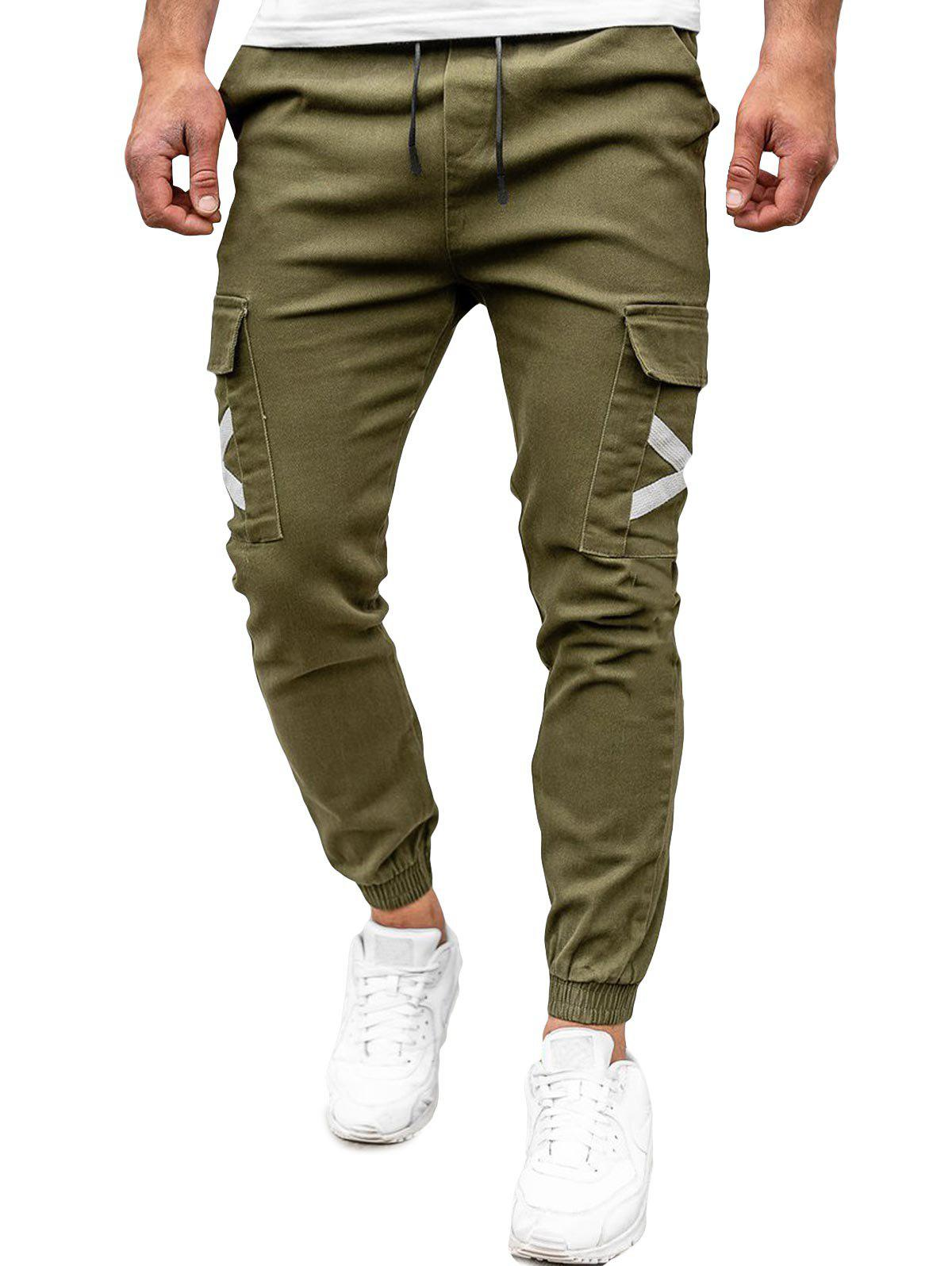 Unique Drawstring Flap Pocket Beam Feet Cargo Pants