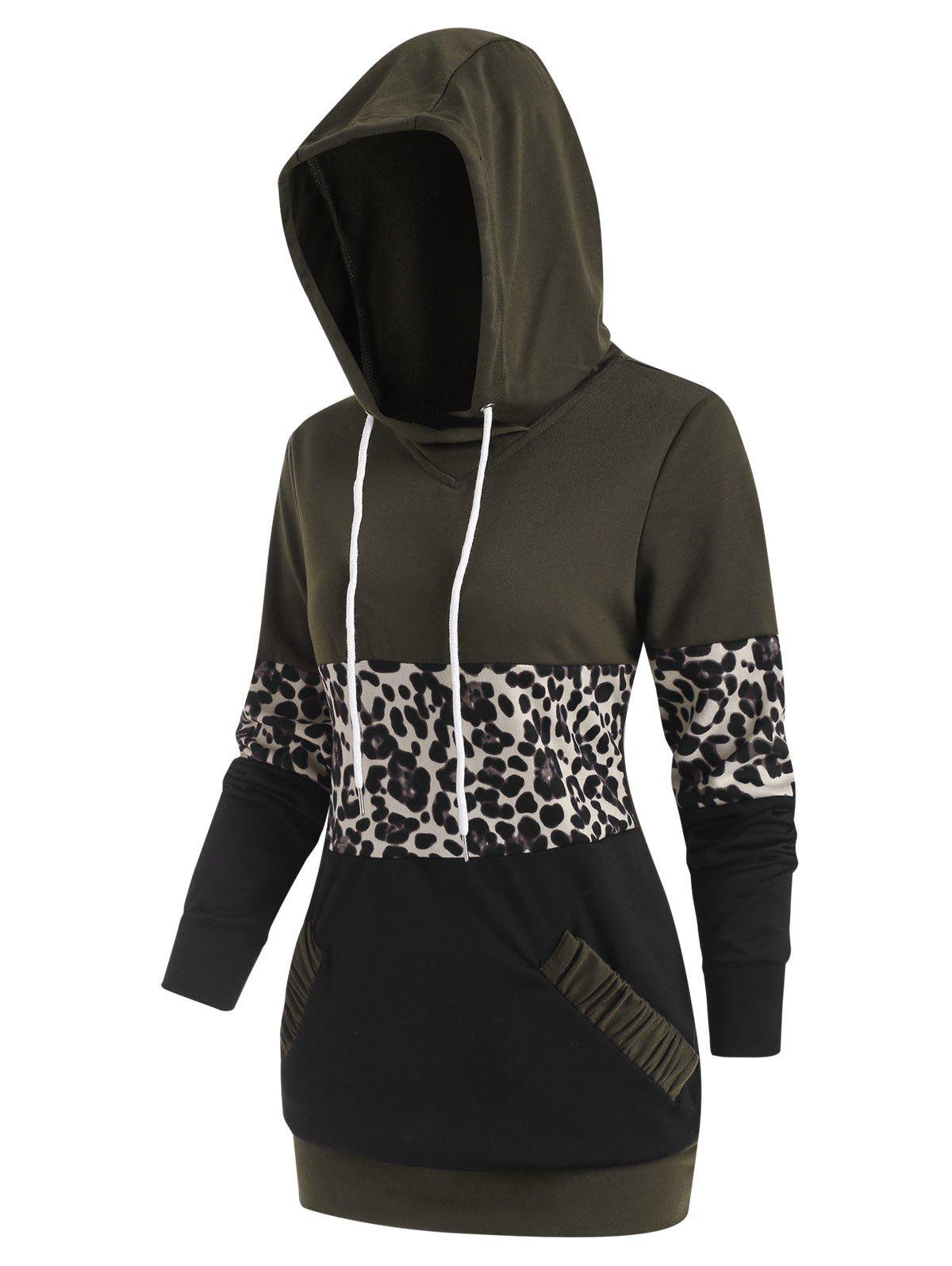 Store Leopard Patchwork Pocket Drawstring Hoodie