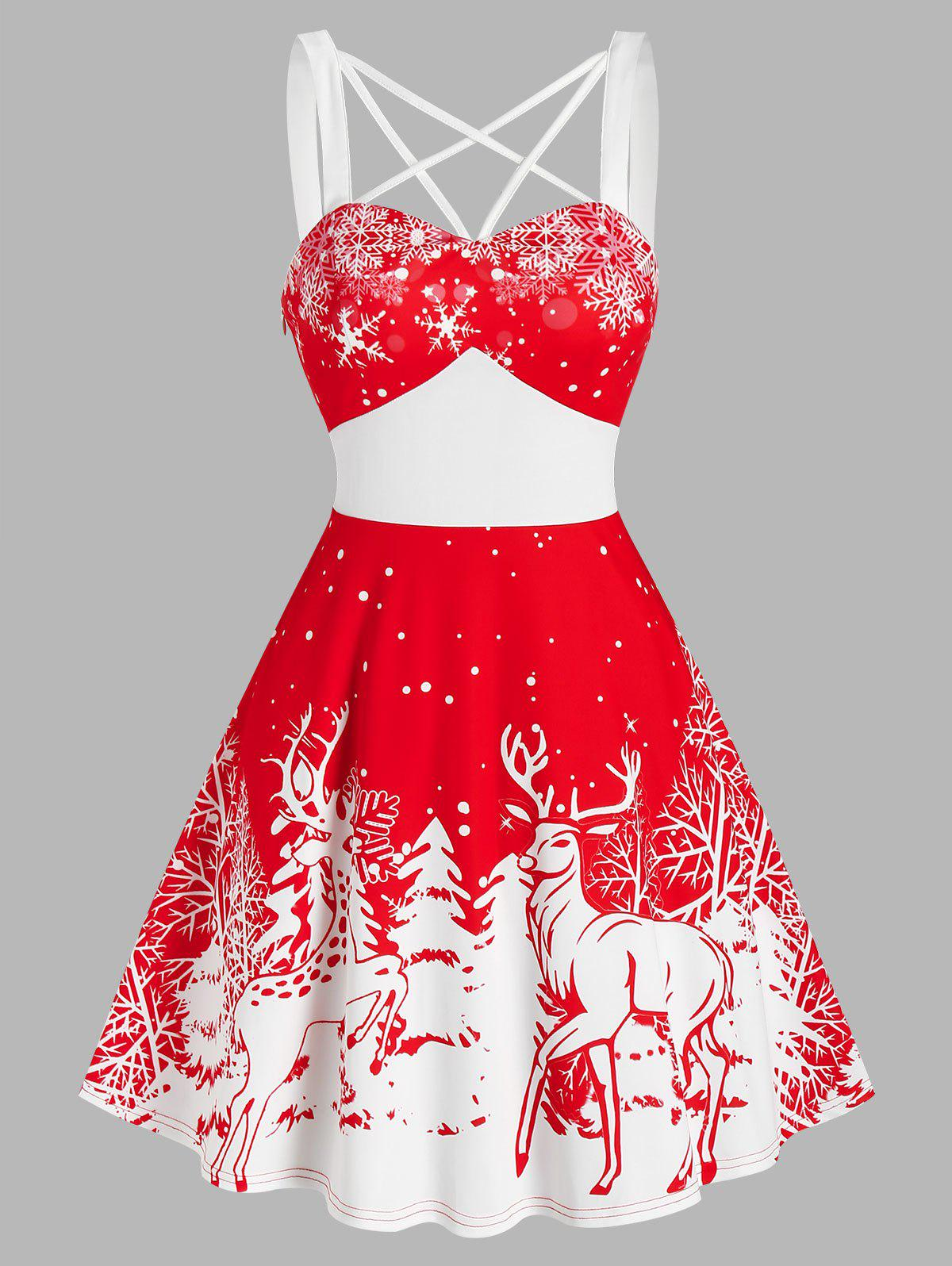 New Christmas Tree Elk Snowflake Print Strappy Sleeveless Dress